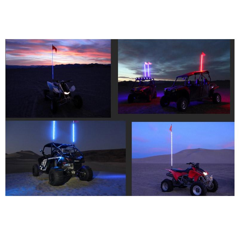 Sick-Stick Dual Whips-Dual Control-Two Lighted Whips.Sick-Stick Single Whip Remote Control UTV Lighted Whip