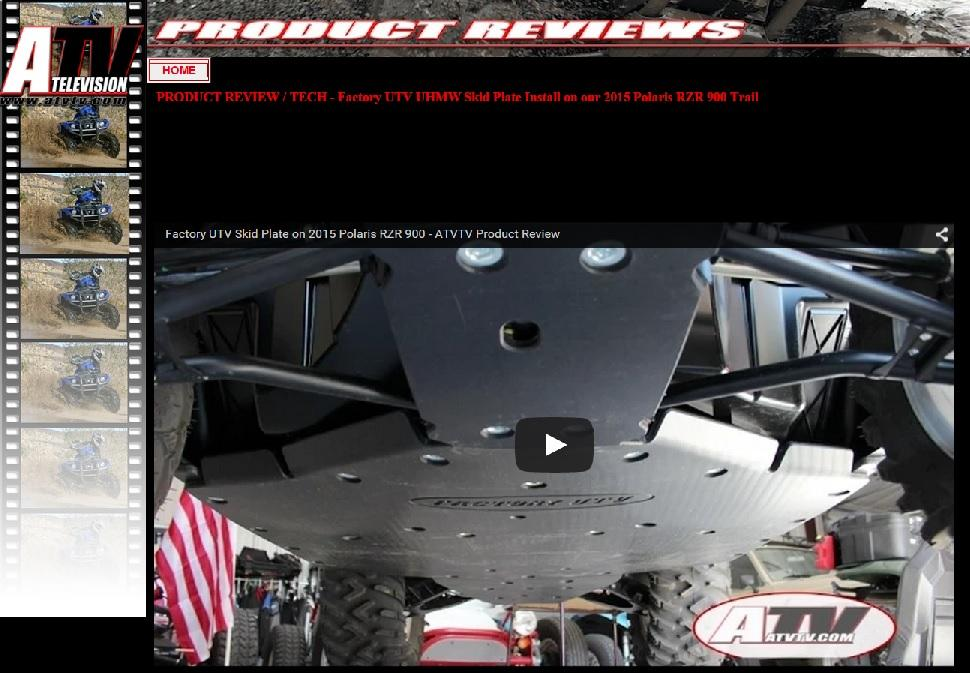 ATV Television Reviews RZR 900 Skid Plate