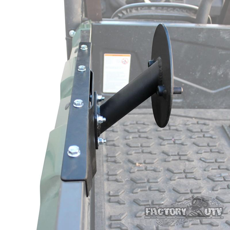 % Factory UTV This Spare tire mount bolts directly to the side of the  Yamaha Viking bed which allows positioning the tire so it does not block  your