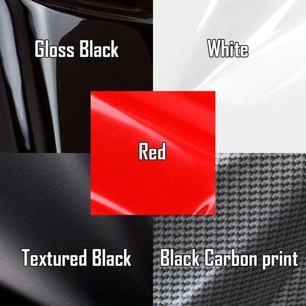 Door plastic color options, gloss black, white, red, textured black, black carbon print